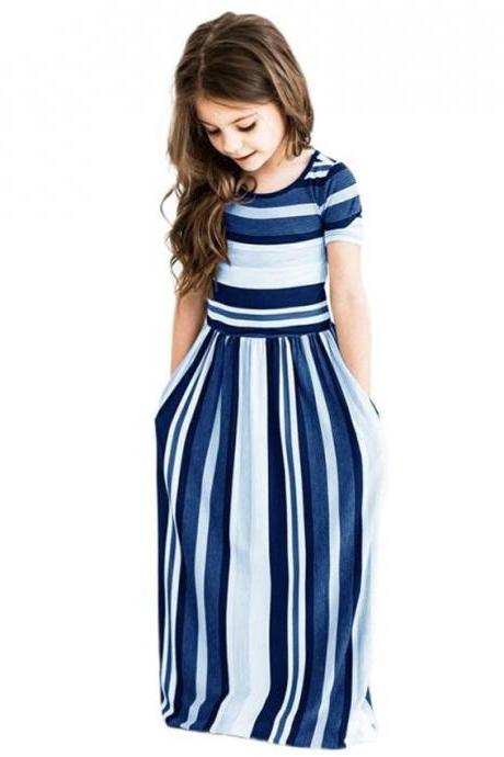 Striped Flower Girl Dress Short Sleeve Formal Birthday Long Party Gown Children Kids Clothes blue