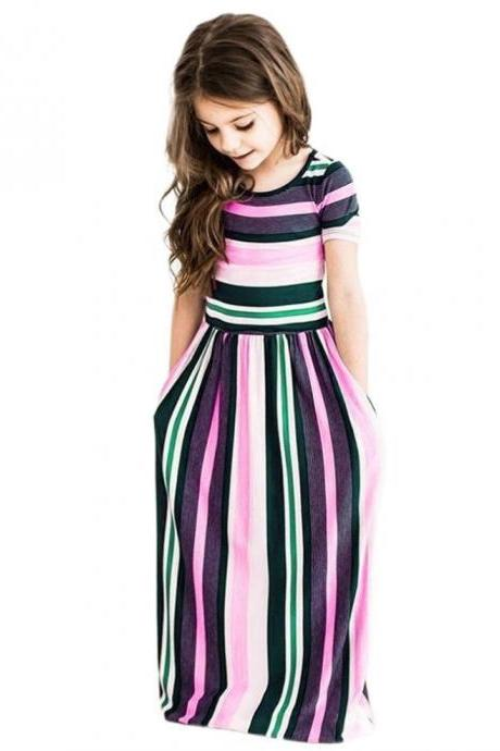 Striped Flower Girl Dress Short Sleeve Formal Birthday Long Party Gown Children Kids Clothes pink