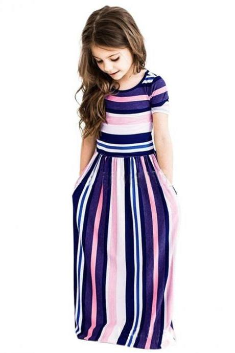 Striped Flower Girl Dress Short Sleeve Formal Birthday Long Party Gown Children Kids Clothes purple