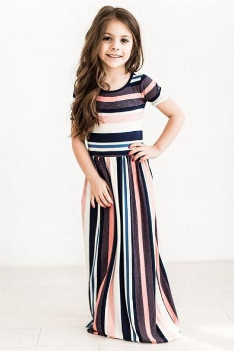 Striped Flower Girl Dress Short Sleeve Formal Birthday Long Party Gown Children Kids Clothes salmon