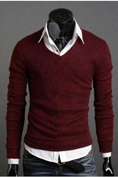 Men Knitwear Sweater Spring Autumn V Neck Long Sleeve Jumpers Casual Slim Pullover Tops wine red