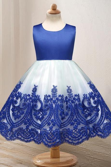 Embroidery Lace Flower Girl Dress Princess Wedding Formal Party Birthday Ball Grown Children Clothes blue