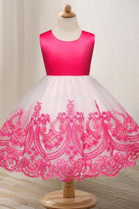 Embroidery Lace Flower Girl Dress Princess Wedding Formal Party Birthday Ball Grown Children Clothes hot pink