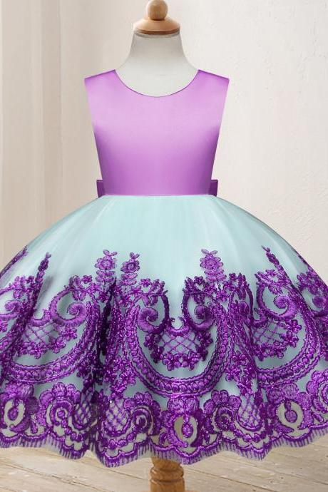 Embroidery Lace Flower Girl Dress Princess Wedding Formal Party Birthday Ball Grown Children Clothes purple