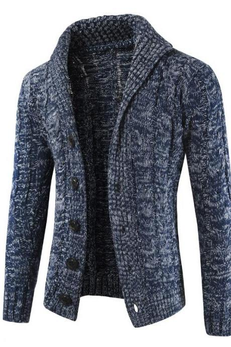 Men Sweater Coat Autumn Winter Warm Long Sleeve Casual Turn-Down Collar Button Knitted Cardigan Jacket navy blue