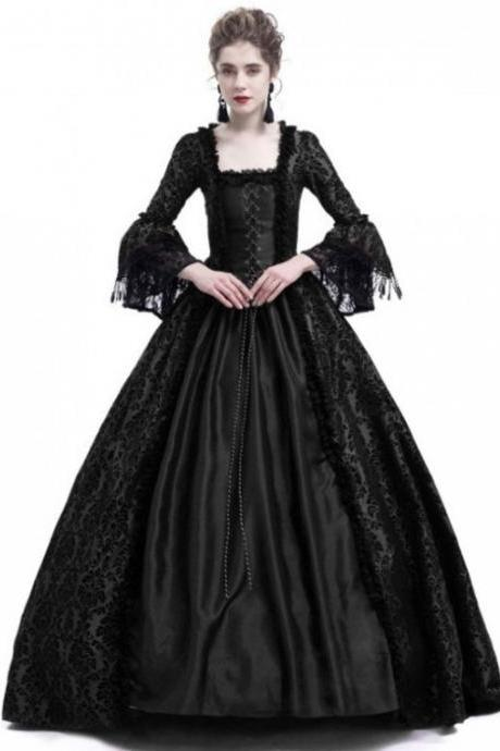 Women Medieval Princess Costumes Century Gothic Victorian Queen Lace Long Sleeve Ball Gown Dress black
