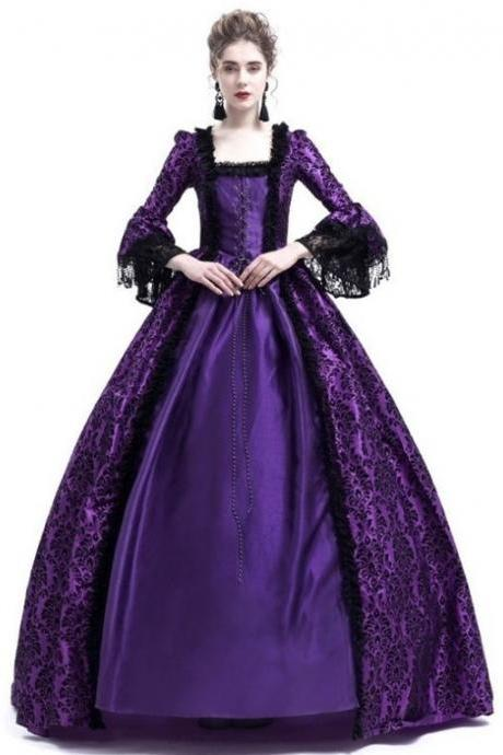 Women Medieval Princess Costumes Century Gothic Victorian Queen Lace Long Sleeve Ball Gown Dress purple