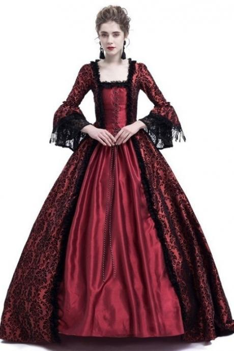 Women Medieval Princess Costumes Century Gothic Victorian Queen Lace Long Sleeve Ball Gown Dress wine red