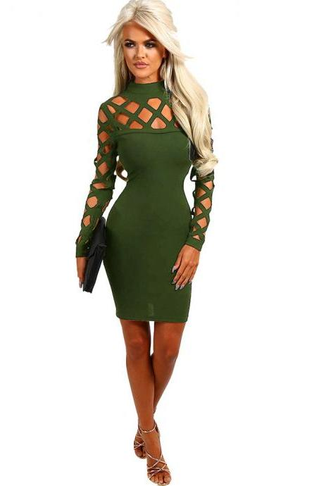 Women Bandage Dress Long Sleeve Hollow Out Bodycon Mini Club Pencil Party Dress army green