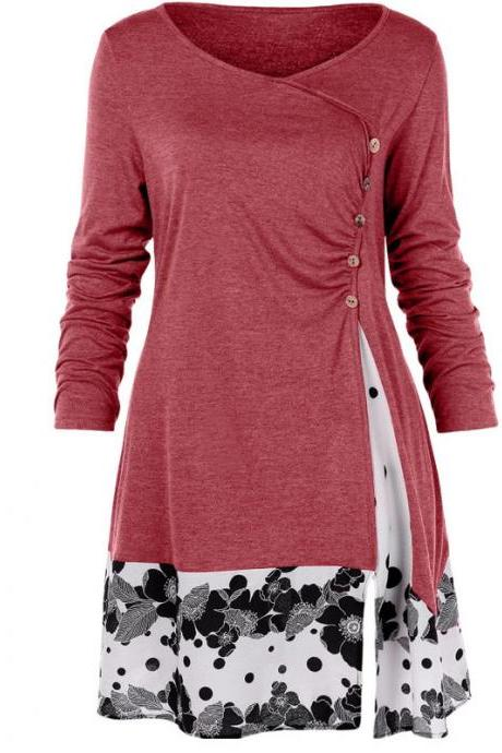 Women Long Sleeve T Shirt Spring Autumn Floral Patchwork Button Plus Size Casual Loose Tops red