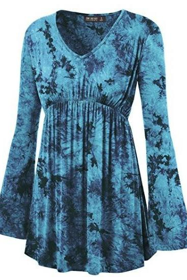 Women Floral Printed Tunic Tops Spring Autumn Flare Sleeve V-Neck Casual Plus Size T Shirt