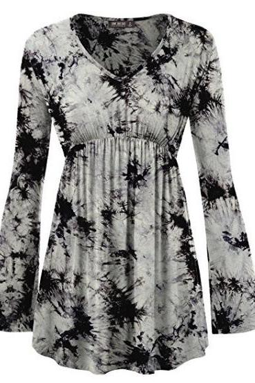 Women Floral Printed Tunic Tops Spring Autumn Flare Sleeve V-Neck Casual Plus Size T Shirt gray