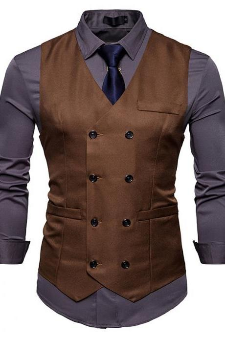 Men Suit Waistcoat Double Breasted Slim Fit Vest Wedding Business Casual Sleeveless Coat coffee