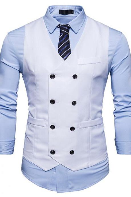 Men Suit Waistcoat Double Breasted Slim Fit Vest Wedding Business Casual Sleeveless Coat off white