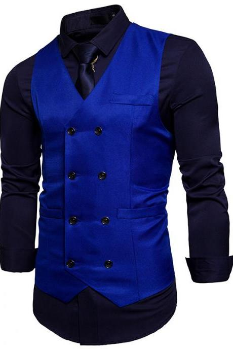 Men Suit Waistcoat Double Breasted Slim Fit Vest Wedding Business Casual Sleeveless Coat royal blue