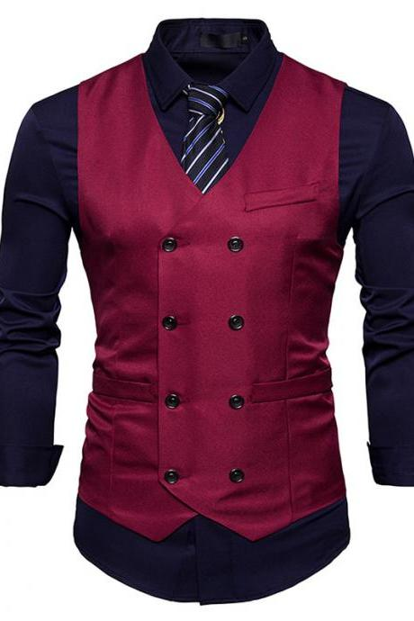 Men Suit Waistcoat Double Breasted Slim Fit Vest Wedding Business Casual Sleeveless Coat wine red