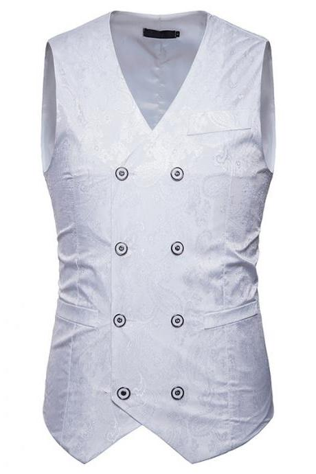 Men Floral Printed Waistcoat Double Breasted Vest Slim Sleeveless Casual Business Formal Suit Coat off white