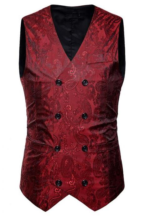 Men Floral Printed Waistcoat Double Breasted Vest Slim Sleeveless Casual Business Formal Suit Coat red