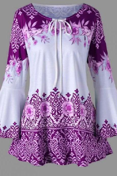 Women Floral Printed T Shirt Spring Autumn Long Flare Sleeve Casual Loose Plus Size Tops Blouse purple