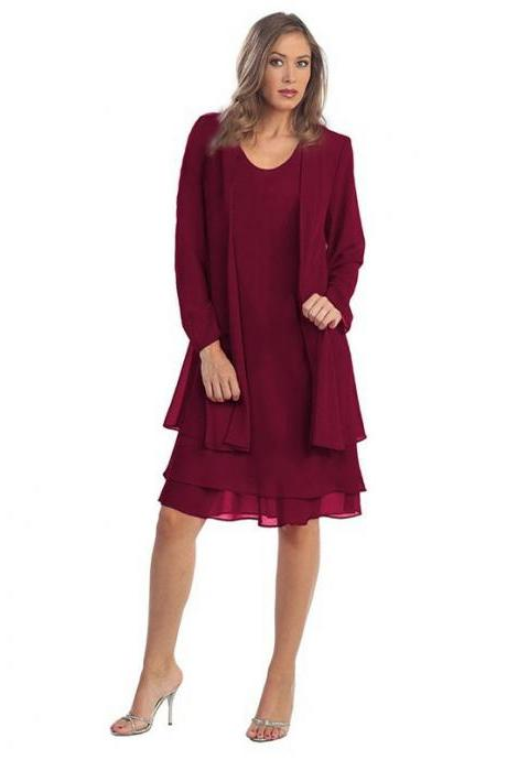 Women Chiffon Midi Dress Plus size Long Sleeve Casual Loose Two Pieces Dress wine red