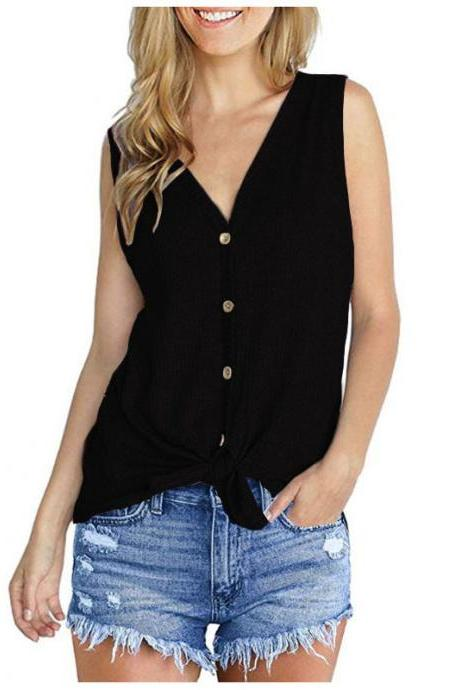 Women Knitted Vest V Neck Buttons Sleeveless Casual Loose Pullovers Cardigan Tops black