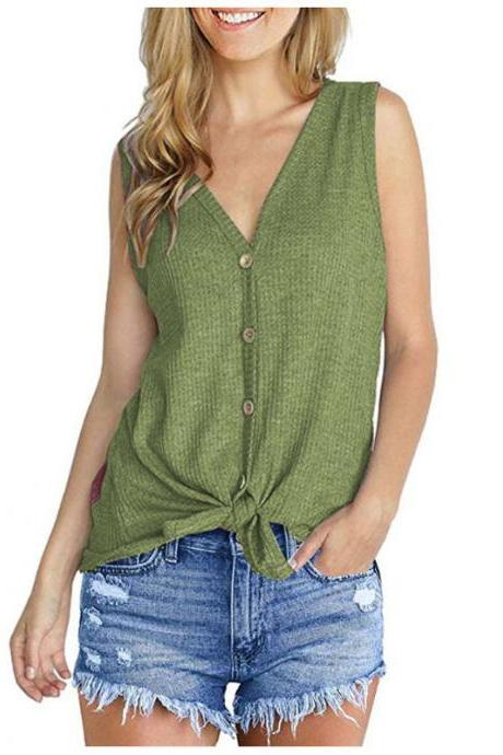 Women Knitted Vest V Neck Buttons Sleeveless Casual Loose Pullovers Cardigan Tops green