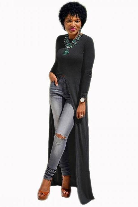 Women Long Sleeve Maxi Dress Front High Split Floor-Length Casual Pullover Tops black