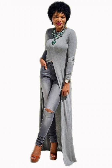Women Long Sleeve Maxi Dress Front High Split Floor-Length Casual Pullover Tops gray
