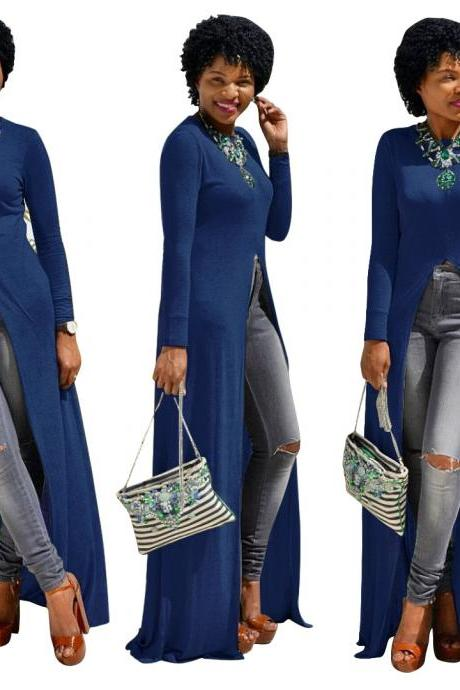 Women Long Sleeve Maxi Dress Front High Split Floor-Length Casual Pullover Tops royal blue