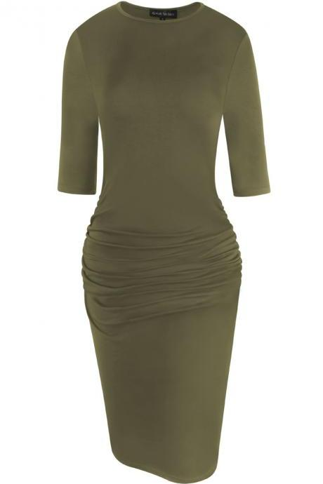 Women Pencil Dress Half Sleeve Casual Pleated Slim Bodycon Work Office Party Dress army green
