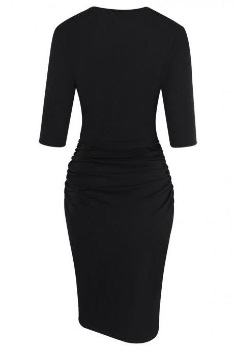 Women Pencil Dress Half Sleeve Casual Pleated Slim Bodycon Work Office Party Dress black