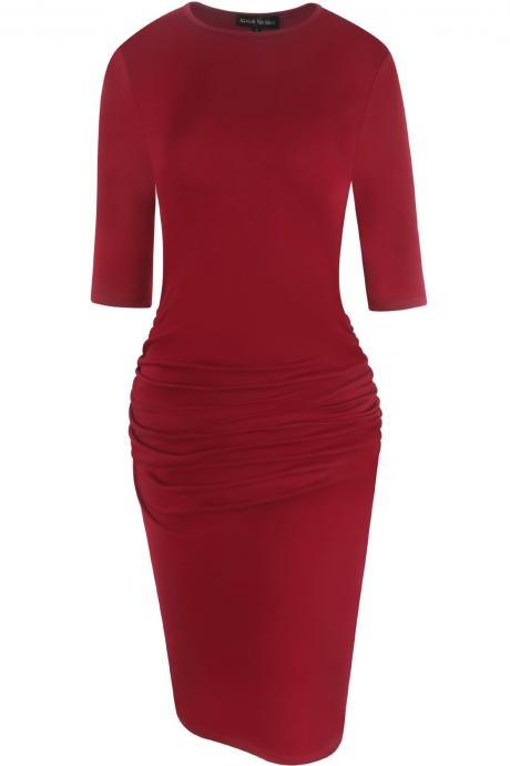 Women Pencil Dress Half Sleeve Casual Pleated Slim Bodycon Work Office Party Dress red