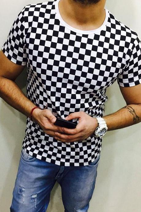 Men Plaid T Shirt O Neck Short Sleeves Summer Plus Size Casual Slim Fit T Shirt off white