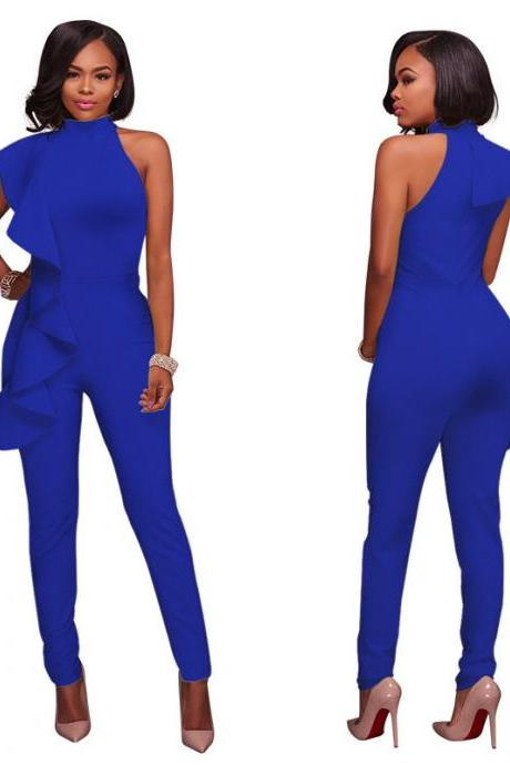 Women Jumpsuit Ruffles Casual Bodycon Sleeveless Office Formal Rompers Bodysuit royal blue