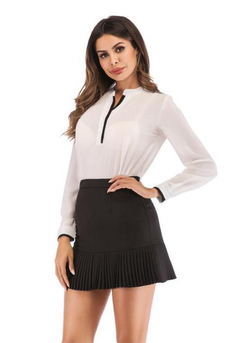 Women Mini Pleated Skirt Summer High Waist Slim Students Package Hip Pencil Skirt black