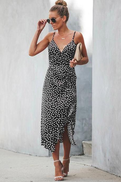 Women Polka Dot Dress Summer V Neck Spaghetti Strap Ruffles Split Casual Beach Boho Sundress black