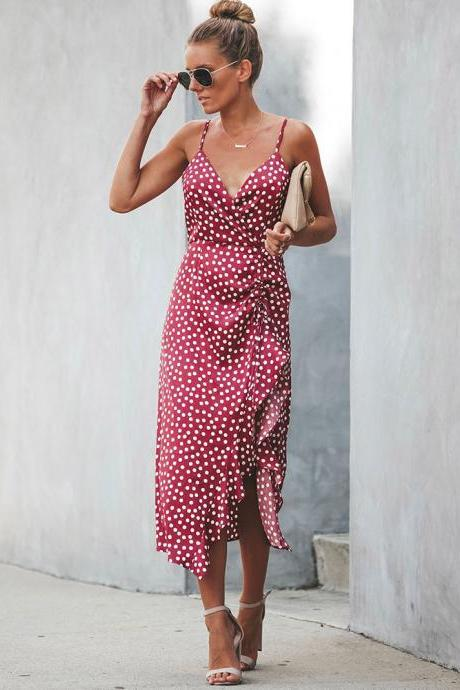 Women Polka Dot Dress Summer V Neck Spaghetti Strap Ruffles Split Casual Beach Boho Sundress