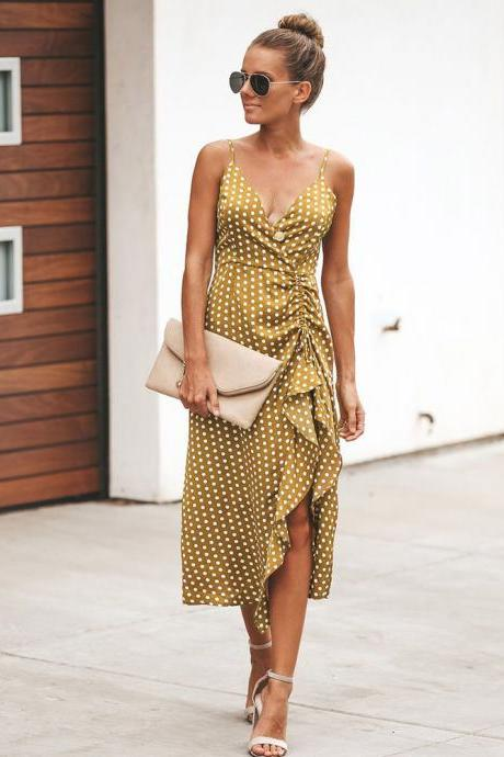 Women Polka Dot Dress Summer V Neck Spaghetti Strap Ruffles Split Casual Beach Boho Sundress yellow