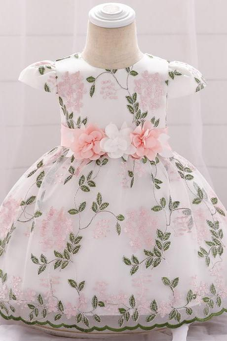 Embroidery Flower Girl Dress Short Sleeve Newborn Baby Baptism Birthday Party Gown Kids Clothes salmon