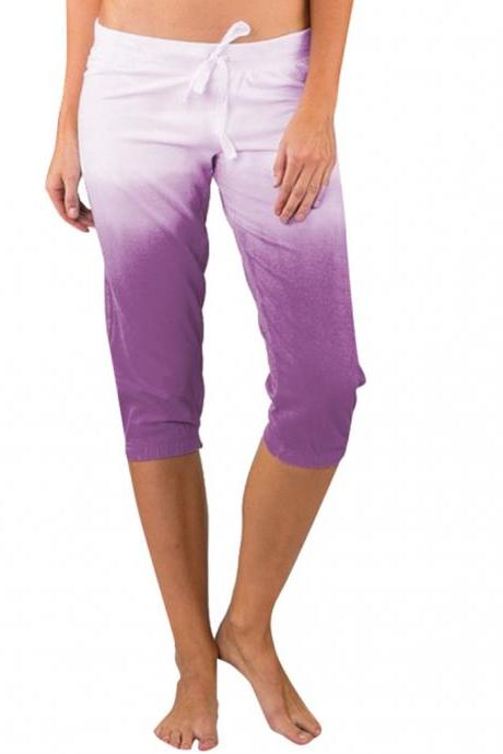 Women Gradient Color Cropped Pants Drawstring Mid Waist Summer Casual Slim Fitness Trousers purple