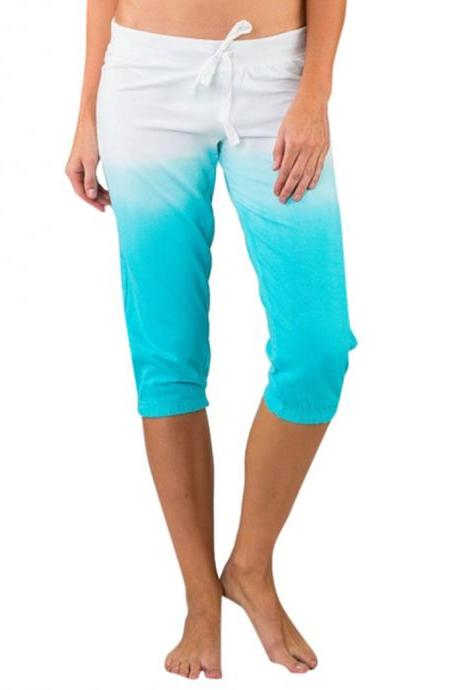 Women Gradient Color Cropped Pants Drawstring Mid Waist Summer Casual Slim Fitness Trousers sky blue
