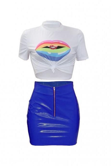 Women Tracksuit Summer Short Sleeve Crop Top+Mini Pu Leather Skirt Club Party Two Pieces Set blue