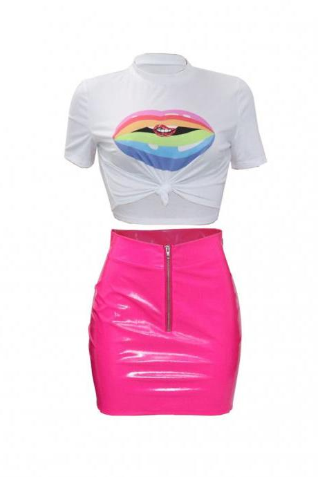 Women Tracksuit Summer Short Sleeve Crop Top+Mini Pu Leather Skirt Club Party Two Pieces Set pink