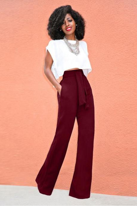 Women Wide Leg Pants High Waist Belted Casual OL Work Office Long Palazzo Trousers wine red