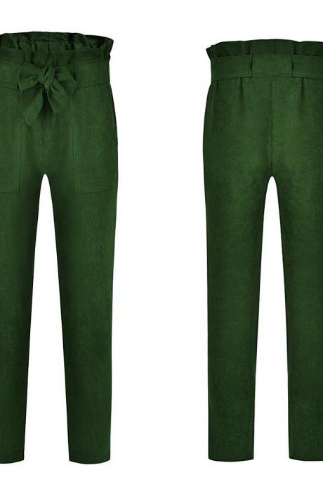 Women Harem Pants Bow Tie Belted High Waist Slim Casual Streetwear Capris Trousers green