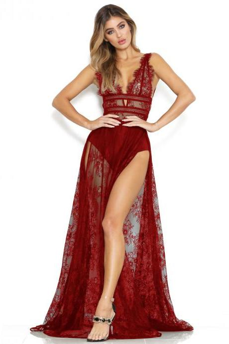 Women Transparent Sheer Lace Maxi Dress Sexy Deep V Neck High Split Bodycon Long Club Party Dress red