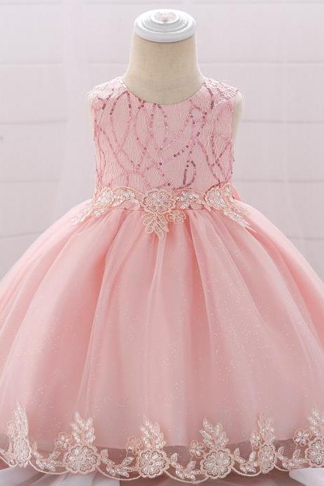 Sequined Lace Flower Girl Dress Newborn Christening Baptism Party Birthday Gown Baby Kids Clothes salmon
