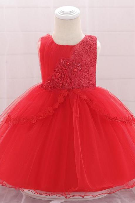 Lace Flower Girl Dress Newborn Wedding Baptism Birthday Christening Party Tutu Gown Baby Kids Clothes red