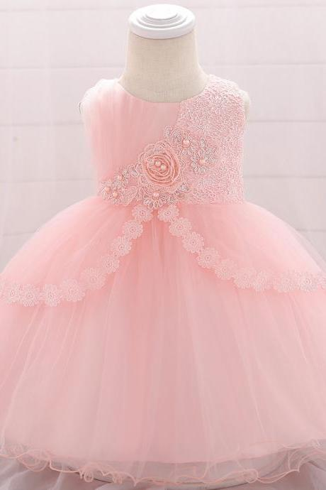 Lace Flower Girl Dress Newborn Wedding Baptism Birthday Christening Party Tutu Gown Baby Kids Clothes salmon