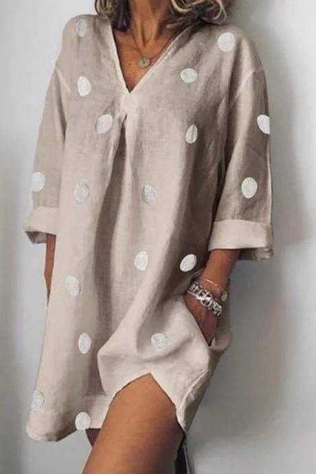 Women Polka Dot Dress V Neck Long Sleeve Casual Loose Plus Size Summer Beach Boho Mini Dress gray